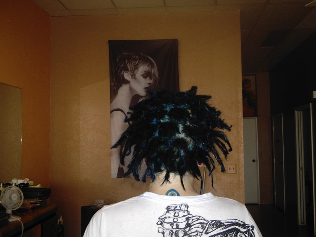 Blue Back Combing Dreads I Did