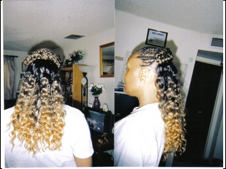 cornrows in front and extension weave in back (i did)
