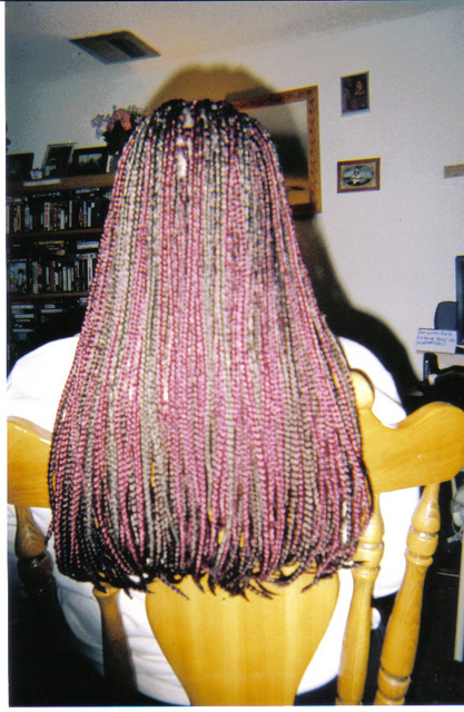 Red and Brown Box Braids I did