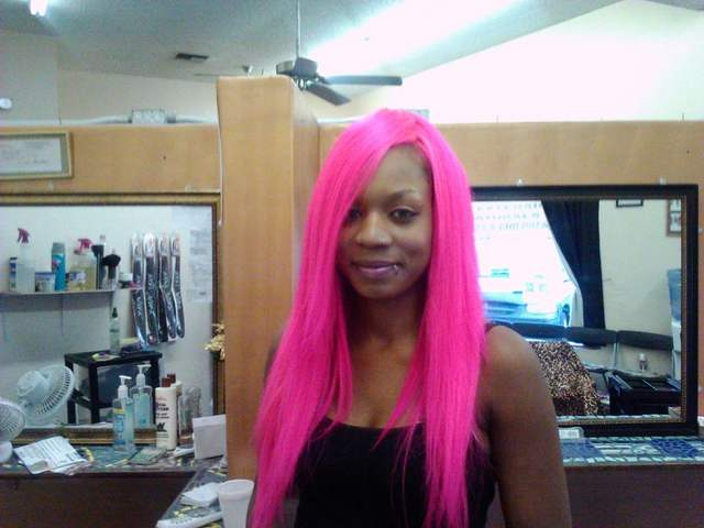 full head weave i did pink